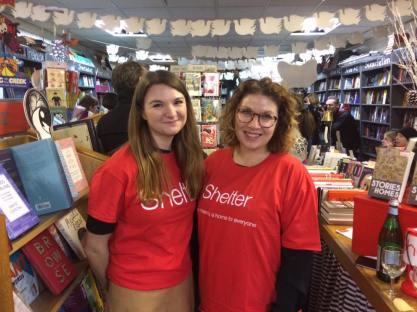 Shelter reps Laura Wilcox and Talia Pobischan